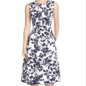 Eliza J Faille Midi Dress Blue Print